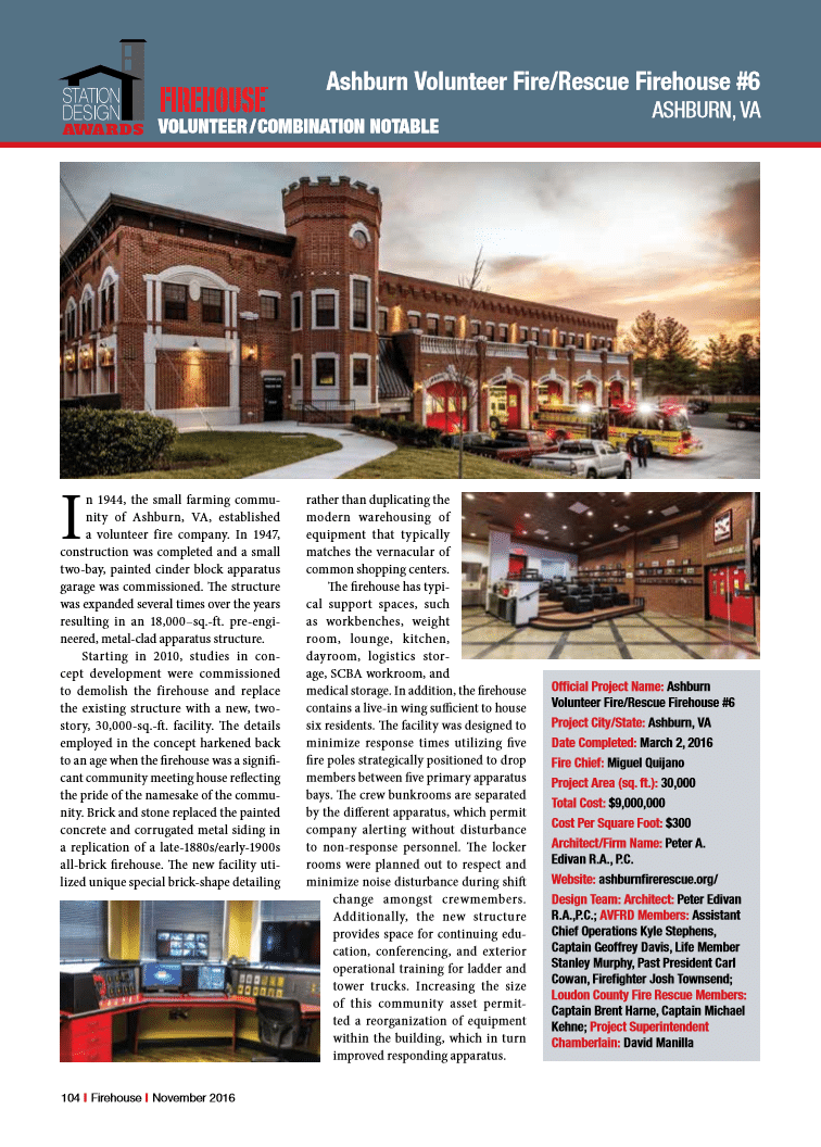 Ashburn in Firehouse Magazine Firehouse Awards 2016